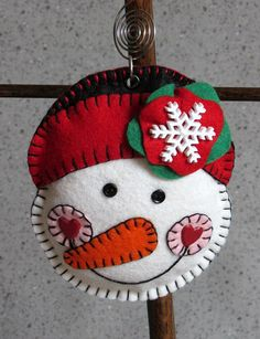 Wool Felt Snow Girl with Hat Ornament Hanger by FHGoldDesigns