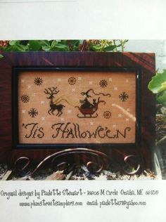 Tis Hallowe'En Plum Street Samplers Witch Counted Cross Stitch Halloween | eBay