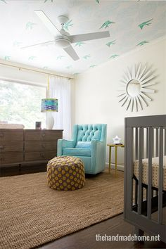 Modern nursery with beautiful ceiling detail! From The Handmade Home. #laylagrayce #nursery #modern