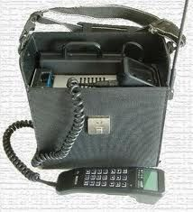 first cell phone.....The Bag Phone!
