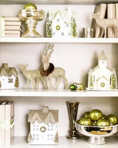 bookcase holiday décor - this reminds me of my Grandma's décor at Christmas - oh, the memories!