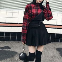 New order - Wonderland ((Ferns outfit)) Edgy Outfits, Mode Outfits, Korean Outfits, Grunge Outfits, Grunge Fashion, Girl Outfits, Fashion Outfits, Emo Fashion, Red And Black Outfits