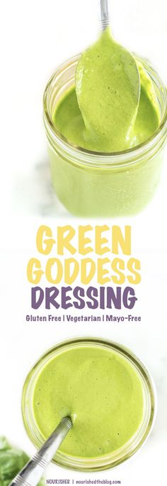 Healthy Green Goddess Dressing | This healthy salad dressing recipe is a mayo-free and lightened-up take of the creamy green classic. Made with a base of Greek yogurt, lots of fresh herbs, garlic and a little kick of jalapeño, this dressing is good on anything and everything!!