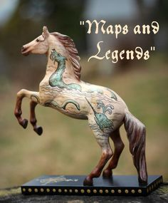 Custom Trail of the Painted Ponies Horse Original AAOPP Sea Monster Antique Map
