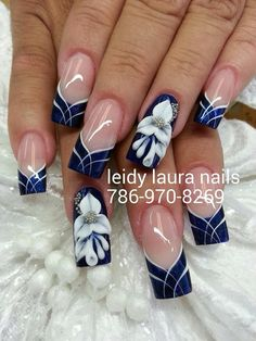 Navy and lace Fabulous Nails, Gorgeous Nails, Pretty Nails, Acrylic Nail Designs, Nail Art Designs, Creative Nail Designs, Acrylic Nails, Square Nail Designs, Pretty Nail Designs