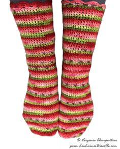 Crocheted socks with Bis-Sock self-striping watermelon yarn  #yarn #knitting #knittersofinstagram #knit #yarnlove #yarnaddict #wool #knitstagram #yarnporn #diy #yarnlovechallenge #knittingaddict #selfstriping #handdyedyarn #selfstripingyarn #selfstripingsockyarn #handdyed #indieyarn #indiedyedyarn #knittersofig #indiedyers  #watermelon