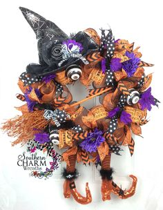 Deluxe Deco Mesh Halloween Witch Wreath -Raz Boots -Hat -Broom -Ribbon by SouthernCharmWreaths on Etsy https://www.etsy.com/listing/205709166/deluxe-deco-mesh-halloween-witch-wreath