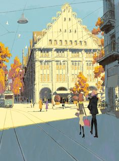 The Art Of Animation, Tadahiro Uesugi City Illustration, Landscape Illustration, Animation Background, Art Background, Storyboard, Dibujos Cute, Architecture Tattoo, Visual Development, Environment Design