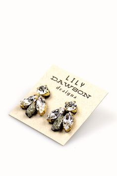 Small Fly Stud Earrings $24.99 // via www.spottedmoth.com #earrings #handmade #lilydawson #pyrite #rhinestone