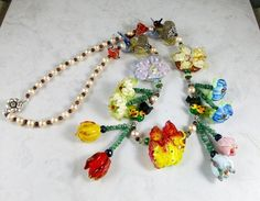 Magic Garden II Lampwork Flowers, and Genuine Pearl, Ruby, Sapphire and Emerald OOAK Scottie Necklace and Earring Set - 320ss