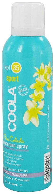 Best Smelling #Sunscreen - Sport SPF 35 Pina Colada Sunscreen Spray by @COOLA SUNCARE . ELLE Magazine 2011