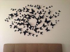 Serena's bedroom. Gossip girl like butterfly mural.