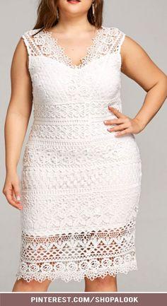 f74a1c6b026 Plus Size Sleeveless V Neck Lace Tight Dress  afflink  plussizedresses   plussizefashion Tight Lace