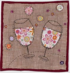 cute example of print in an applique - - - Sharon Blackman Embroidery Cards, Free Motion Embroidery, Free Motion Quilting, Embroidery Applique, Fabric Cards, Fabric Postcards, Freehand Machine Embroidery, Free Machine Embroidery, Sewing Cards