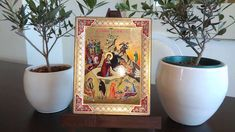 The Birth of Jesus Christ (Russian Style icon - SF Series) Russian Style, Russian Fashion, Birth Of Jesus Christ, Gold Background, Religious Icons, Art Store, Christianity, Carving, Canvas