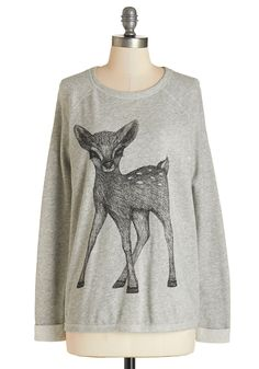 Fan of the Fawn Sweatshirt. Already an animal lover, you nearly flipped when you laid eyes on this oh-so-sweet deer sweatshirt! #grey #modcloth