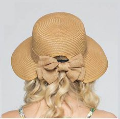 Coffee bow straw hat for women UV protection sun hats wide brim
