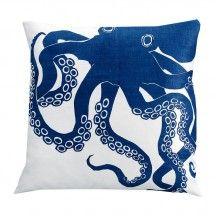 Indigo Octopus Pillow