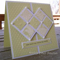 """Inchies Card *(measurements of focal point: 3 1/2"""" sq = 5"""" (diagonal), approximately with 1"""" squares and 1/8"""" spaces.)*"""