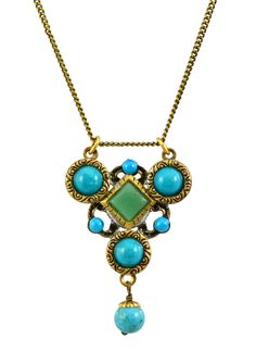 Gold Plated Triangle Pendant Necklace with Howlite Turquoise and Green Adventurine on Brass Chain