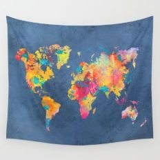 world map blue 2061 Wall Tapestry