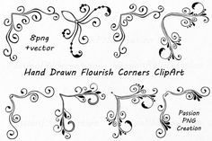 Hand Drawn Flourish Corners Clipart, Flourish Swirls, Borders Calligraphy, Decorative Embellishment, For Personal and Commercial Use - Verzierungen Doodle Borders, Borders For Paper, Doodle Patterns, Zentangle Patterns, Calligraphy Borders, Caligraphy, Simple Borders, Draw On Photos, Hand Drawn Flowers