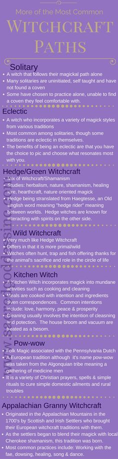 Beginner Wicca - More Witchcraft Traditions: Solitary, Eclectic, Hedge Witch, Wild Witch, Kitchen Witch, Pow-wow & Appalachian Grannie Magick - Follow us for more great infographs. Click the pic to visit our website!