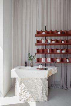 Gallery of SOFI Natural Cosmetics Shop / Studio AUTORI - 10 Espace Design, Interior Architecture, Interior Design, Cosmetic Shop, Cosmetic Stores, Tadelakt, Retail Interior, Retail Space, Commercial Design