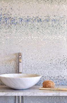 Bathroom Mosaic Tiles~ Metamorphosis Collection by Sara Baldwin for New Ravenna Mosaics Ravenna Mosaics, Ideas Baños, Tile Ideas, New Ravenna, Mosaic Backsplash, Mosaic Wall, Blue Mosaic Tile, Wall Tile, Modern Mosaic Tile