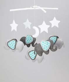 Take a look at this Gray & Blue Polka Dot Star Elephant Mobile by FoxFluff on #zulily today!