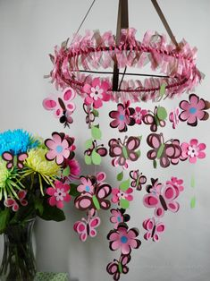 Flower, Butterfly and Leaf Baby Mobile