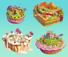Map Art of Cookie JAM: Sweet floating islands Sweet Games, Cute Games, Game Concept, Concept Art, Jawbreaker Candy, Jam Games, Dessert Games, Candy Games, Floating Island