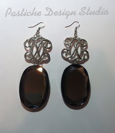 Vintage Inspired Jet Black Oval Crystal and by PASTICHEfashion, $26.00