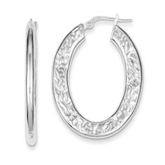 925 Sterling Silver Textured Hollow Oval Hoop Earrings - 16mm