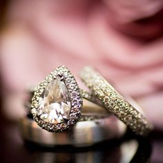 Pear-shaped engagement ring from Pierce Jewelers, Zales wedding ring (Rachel Pearlman Photography)