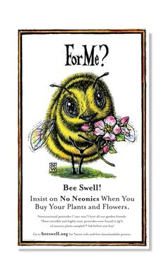 """Insist on No Neonics When You Buy Your Plants and Flowers. """"Neo-nics"""" are invisible and highly toxic pesticides found in of nursery plants sampled* and hurt all our garden friends."""" Ask before you buy! Humble Bee, Buzzy Bee, I Love Bees, Bee Friendly, Bee Art, Plant Nursery, Bee Happy, Save The Bees, Bees Knees"""