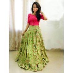 52ea177ea0f Taffeta Silk Embroidery Semi-Stitched Lehenga Crop Top Material (Pink &  Green)