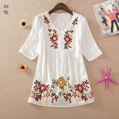 New 2016 summer embroidery style women clothes cotton shirts plus size casual blusas femininas shirt blouses Embroidery Designs, Vintage Embroidery, Crewel Embroidery, Japanese Embroidery, Embroidery Kits, Boho Bluse, Moda Casual, Women's Casual, Blouse Designs