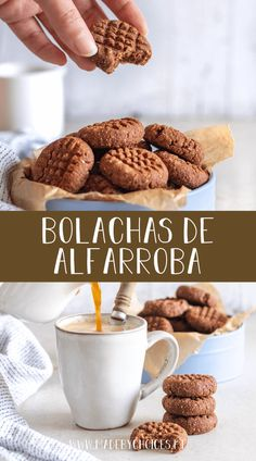 Bolachas de aveia e alfarroba Healthy Cookie Recipes, Healthy Cookies, Vegan Snacks, Yummy Cookies, Healthy Baking, Vegan Recipes, Cooking Recipes, Candy Cakes, Happy Foods