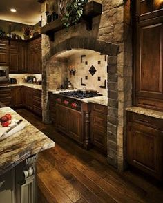 Love all the wood grain and the stone work.