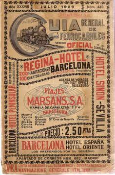 Spanish Railways Timetable Guide from 1929 | Must be printed