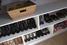 shoe storage at bottom of closet