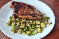 Almond-Crusted Chicken Breast Over a Warm Brussels Sprout and Bacon Salad