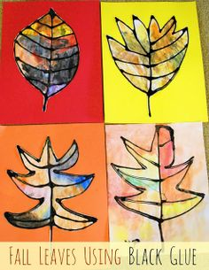 Create these fun fall leaves that really jump out at you using black glue (you can make your own), watercolors, white paper and construction paper. What a fun craft from @Vicky from Mess For Less!   Mess For Less: Fall Leaves Using Black Glue