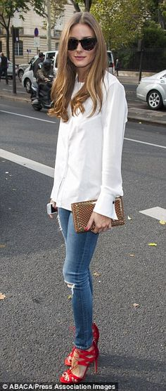 Olivia Palermo arrives at the Veronique Leroy show for Paris Fashion Week on Saturday