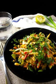 Chopped Thai Vegetable Salad with Peanut Dressing