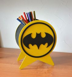 Wood pencil and pen holder with Batman Office Pen Organizer Gift for superhero for fun Pencil Holder, Pen Holders, Pen Organizer, Living Hinge, Wooden Plaques, Wood Gifts, Scroll Saw, Gifts For Kids, Art For Kids