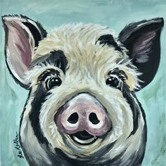 Pig art print, Pig decor from original canvas pig painting. Pig art print, archival paper or canvas pig art by HippieHoundUSA on Etsy