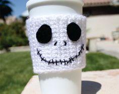 Jack Skellington -ish Travel Coffee Cup Mug Cozy - The Nightmare Before Christmas -ish Disney Animation Crochet Knit Sleeve