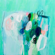 """Abstract floral giclee print of acrylic painting """"Sea foam 1""""  large wall art 40"""" green shades acqua"""